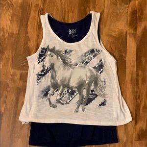 Girls Justice Horse Layered Tank Top